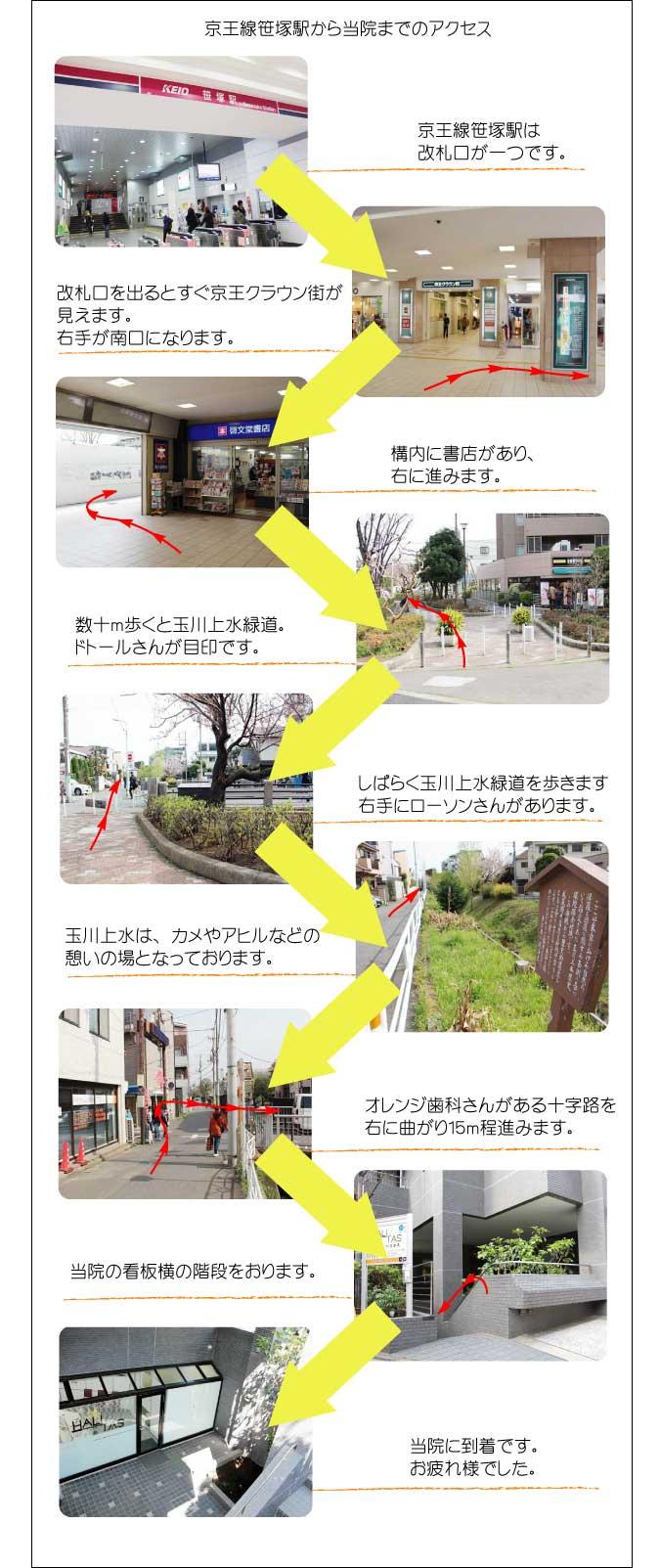 京王線笹塚駅より鍼灸整体ハリタスまでの行き方(詳細版)
